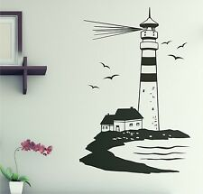 LEUCHTTURM Maritim Wandaufkleber Wandtattoo 90cm Badezimmer WC Klo Aufkleber W2