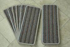 14 Blue Stripey Open Plan Carpet Stair Treads Fancy StripePads! 14 Large Pads