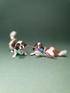 OOAK Realistic st.bernand puppy's dog Dollhouse Handmade IGMA ARTISAN
