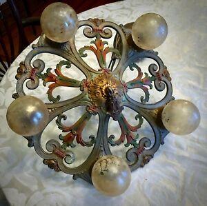 Gorgeous 20s Brass Art Deco Nouveau 5 Light Chandelier Rewired Original Finish