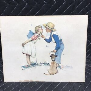 NORMAN ROCKWELL Embossed Litho's 3D Boy with dog And Girl