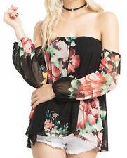 Mittoshop Womens Black Beige off the Shoulder floral Long Sleeve Shirt Top