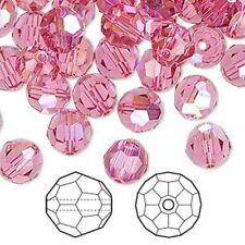 FIFTY (50) ROSE AB Round Swarovski Crystals Style 5000