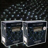 2 x 105 LED OUTDOOR SOLAR POWER NET BLANKET GARDEN DECKING FAIRY LIGHTS SLNET1