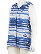 For Cynthia -  2X - NWT - Blue Striped Linen Blend Hoodie Vest - Cardigan Top