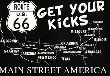 Black & White Route 66 Map, Road Chicago to Los Angeles, Main Street -- Postcard