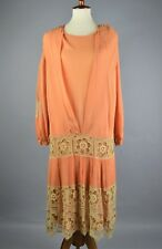 Vintage 1920's Silk Chiffon Peach Dress With Wooden Beads