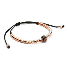 Anil Arjandas Men Rose Gold Diamond Ball Macrame Beaded Bracelets Handmade Gift