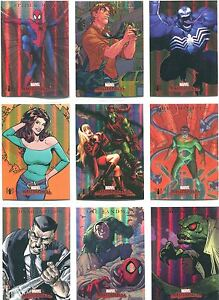 Marvel Masterpieces 2007 Complete Spiderman Foil Parallel Chase Card Set S1-S9
