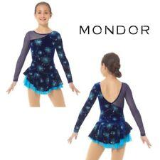 MONDOR Blue Glitter Velvet Figure Skating Competition Dress Child & Adult Sizes