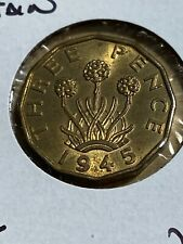 1945 Great Britain 3 Pence (Brass)!!