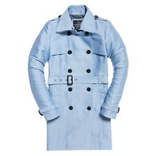 Superdry Womens Ladies Belle Trench Coat Jacket in Size 10 Small, Pale Blue, New