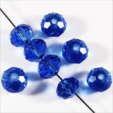 20 perles à Facettes Rondelles 6 x 4 mm en Cristal Bleu foncé