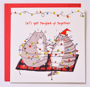 Bird & Quill / Papyrus Christmas Card - Let's Get Tangled Up Together Cats Cat