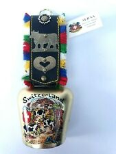 Vtg Nos Switzerland Souvenir Cow Bell Hand Crafted w/ Leather Strap Clean!