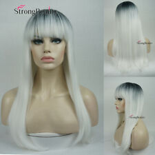 Women's Cosplay Long Ombre White Straight Dark Roots Wig Synthetic Hair Wigs