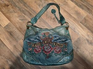 Isabella Fiore Denim Leather Embroidered Faith Love Hope Purse Bag  Wings