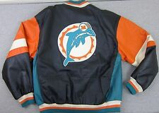 Vintage Men's Mirage Miami Dolphins All Leather NFL Football Jacket Coat Large