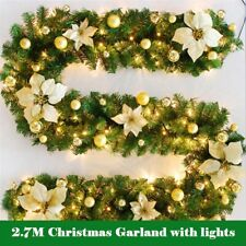 2.7m Christmas Rattan Cane Garland with LED Lights Family Hotel Christmas Decor,