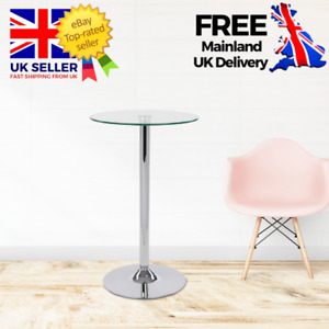 Stunning Round Clear Glass Poseur Table / Modern Chrome Dining Bar Bistro Cafe