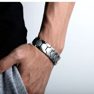 Männer Armband Edelstahl Silber Armkette Power Energie Magnetarmband 18mm breit
