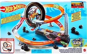 Hot Wheels City Hyper-Boost Tyre Shop Track & Car Play Set GJL16 New Kids Toy 5+