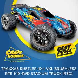 TRAXXAS RUSTLER 4X4 VXL BRUSHLESS RTR 1/10 4WD STADIUM TRUCK (RED) RTR *IN STOCK