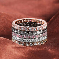 18K Rose Gold/Black/Gold Silver Bands Women's 925 Silver Cz Tail Ring Size 6-10