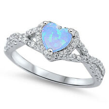 Infinity Heart Light Blue Lab Opal Promise Ring Sterling Silver Band Sizes 4-12
