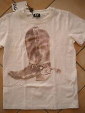 (75) Dolce & Gabbana Girls Shirt mit Cowboy Stiefel Druck & Leder Besatz gr.164