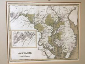rare 1838 HAND COLORED MAP of MARYLAND Delaware by BOYNTON Baltimore WASHINGTON