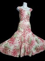 Per Una M&S dress 12  floral midi COTTON flared summer godet inserts lined VGC