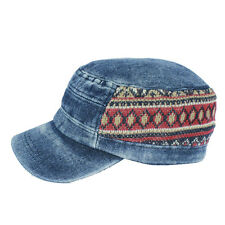 Denim Visor Cap Military Army Cadet Hat Canvas Baseball Sun Vintage Knitting PSL