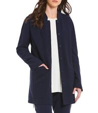 Eileen Fisher Midnight Blue Textural Cotton Stand Collar Jacket NWT $348 XL Long
