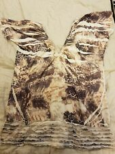 CITY CHIC short sleeve beige patterned top wide neck stretchy Sz S (16) EUC