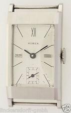 ART DECO STAHL HERRENUHR VOM MÜNCHENER JUWELIER HUBER - NEW OLD STOCK - ca. 1935