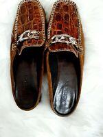 Sesto Meucci Shoes Slides Mules Slip-on brown Moc Croc Womens Size 8M Vintage