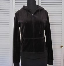 Anna Fashion Women's Junior Sz Lg Black Velour Zip Hoodie & Drawstring Pants Set