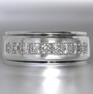 2.10TCW Princess Cut Moissanite Solitaire Men's Wedding Ring 14k White Gold Over