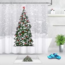 "Winter Snow Scene Tree Red Chritmas Balls Shower Curtain Set Bathroom Decor 72"""