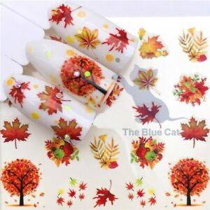 Nail Art Sticker Water Decals Transfers 2021 Fall Autumn Maple Leaf Nail Art
