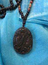 Obsidian sweater chain necklace jewelry Rainbow eye