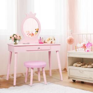 Kinder Schminktisch Make-up Tisch Hocker&Spiegel Frisierkommode Frisiertisch