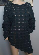 NWT Double D Ranch Dark Teal Cut Out Asymetrical Linen Blend Sweater XL