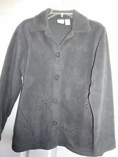 Cherokee Ladies Size Small Dark Charcoal Button Front Jacket eaves Polyester