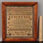 1782 Antique 18thC Alphabet Humility Poem Sampler Bird's Eye Maple Frame NR