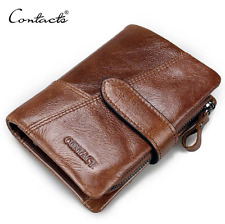 Men's Real Leather Wallet Brown - Coin Pocket -Trifold - E77