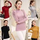 Women Turtleneck Long Sleeve Slim Knitted Pullover Sweater Knitwear Jumper Tops