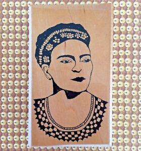 Postmodern Design Frida Kahlo Wood Mounted Rubber Stamp Mexican Portrait Artist