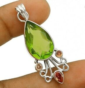 14CT Peridot & Sapphire 925 Solid Sterling Silver Pendant Jewelry CT25-6
